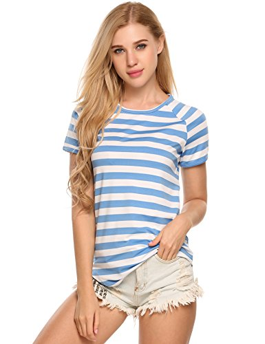 Blue Stripe T-shirt (Zeagoo Women's Summer Short Sleeve Striped Casual T-shirt Top (Sky Blue-L))