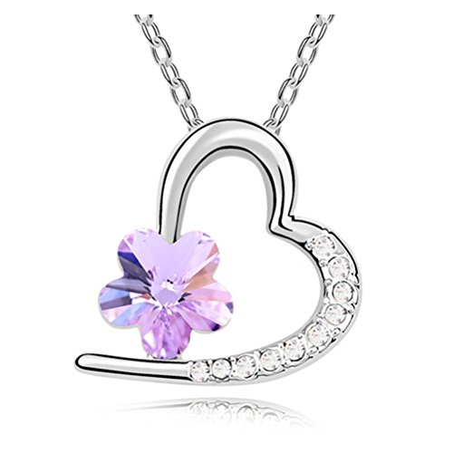 18K White Gold CZ Heart Cherry Blossom Flower Swarovski Crystal Necklace Purple Heart Gifts for Kids Girls Women Girlfriend (Flower Girl Heart Charm)