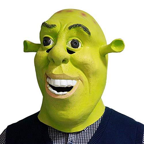 Halloween Shrek Latex Full Head Mask Fancy Dress Adults Size Cosplay Costume Green Masks New ()