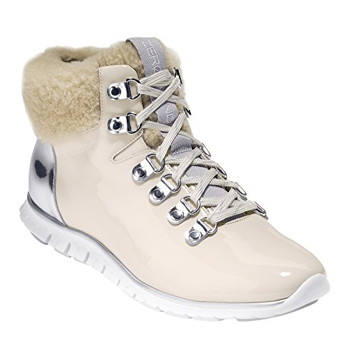 Cole Haan Women's Zerogrand Waterproof Hiker Boot 11 Optic White Waterproof Patent-Silver SPE ()
