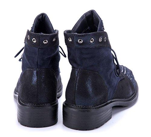 Schuhtempel24 Damen Schuhe Klassische Stiefeletten Stiefel Boots Blockabsatz Ziersteine/Nieten/Glitzer 4 cm Blau