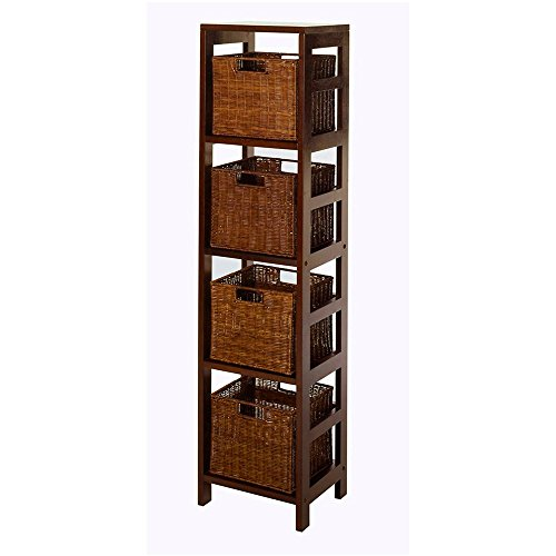 Slim Shelf Storage 4 Tier Free Standing Cabinet Modern Minimal Bookshelf with 4 Baskets Home Office Bedroom Living Room Bathroom Shelving Unit Organization Rack Contemporary Wood & eBook by BADAshop by BS