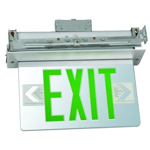 Morris 73415 Recessed Mount Edge Lit Exit Sign, Double Sided Legend, Aluminum Housing, Green
