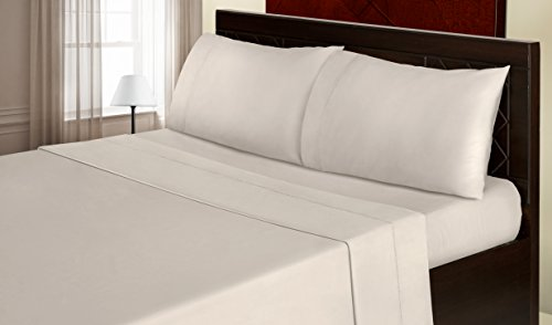 Welhome 600 Thread Count Full Sheet Set - 100% Long-Staple Cotton Beige - Soft & Luxurious Sateen Weave with Stylish Fegotting Hem & Deep Pocket Fitted