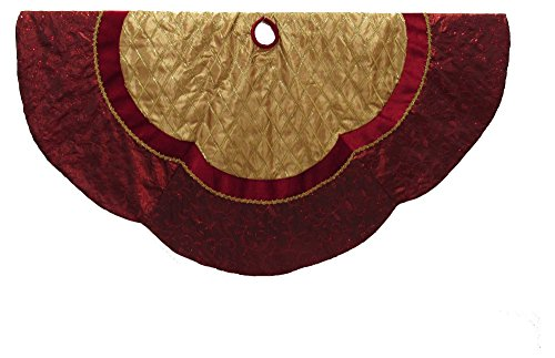 Tree Skirt Premium Christmas Gold And Red Scalloped Pattern 72 Inch Diameter Large Design