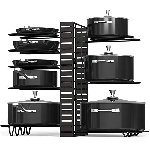 VDOMUS Pan Organizer Rack with 3 DIY Methods, Height Adjustable Kitchen Pan and pot Lid Holder (Black)