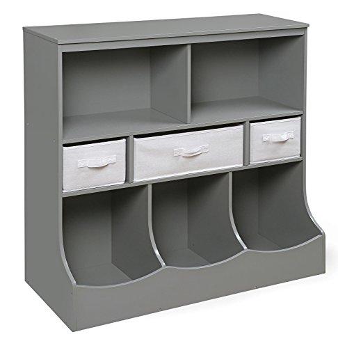 Badger Basket Combo Bin Storage Unit with Three Baskets, Gray from Badger Basket