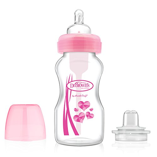 Dr. Brown's Wide-Neck Options Bottles, 2-in-1 Transition Bottle Kit, Pink, 9 Ounce