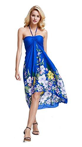 Dress Hawaiian Royal (Women's Hawaiian Butterfly Luau Dress in Rafelsia Border Royal Blue M)