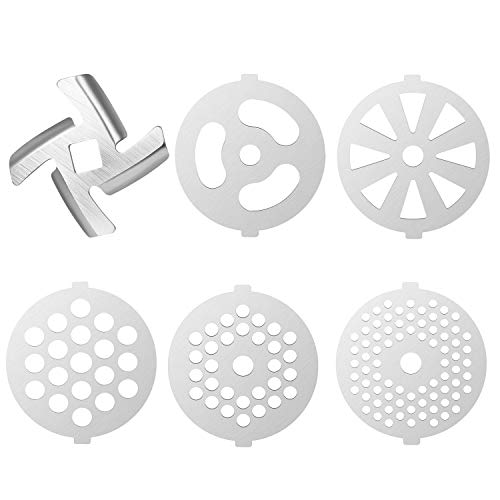 (6 Piece Stainless Steel Meat Grinder Plate Discs Blades for Mixer and Chopper Attachment,Applicable 7-word outlets(Center Hole 7mm))