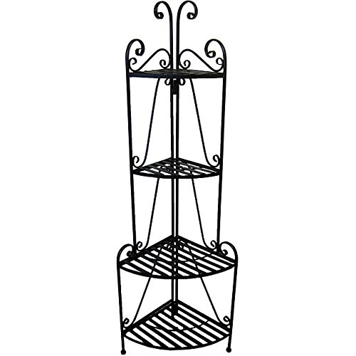 Black Corner Bakers Rack 4 Tier Plant Shelf Standing Metal Shelving Unit Outdoor Indoor Deck Patio Four Levels, Iron 57 Inch