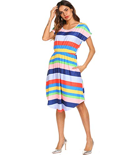 Women's Short Sleeve Loose Fit Striped Color Block Rainbow Print Dress ()
