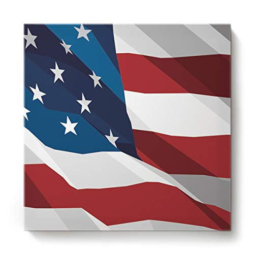 EZON-CH Canvas Wall Art Square Oil Painting Modern Artworks Office Home Decor,The United States Flag Star Pattern Canvas Artworks,Stretched by Wooden Frame,Ready to Hang,28 x 28 Inch