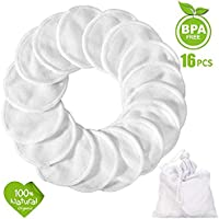 Reusable Make up Remover Pads 18 Packs, Washable Bamboo Cotton Pad with Laundry Bag