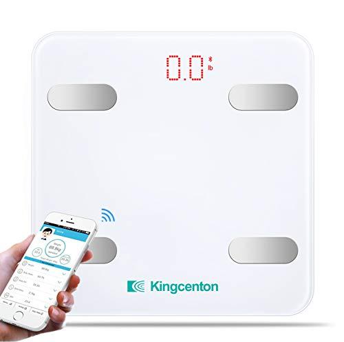 Kingcenton 体重計 体組成モニター スマートスケール 体重/体脂肪/筋肉量/推定骨量/体脂水分/BMIなど測定可能 Bluetooth対応 スマホ同期 iOS / Androidアプリで健康管理 肥満の予防改善 日本語対応APP 電池付き ギフトケース(S)