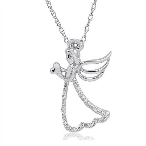 Angel Hold Heart Diamond Pendant-Necklace in Sterling Silver on an 18in. Chain