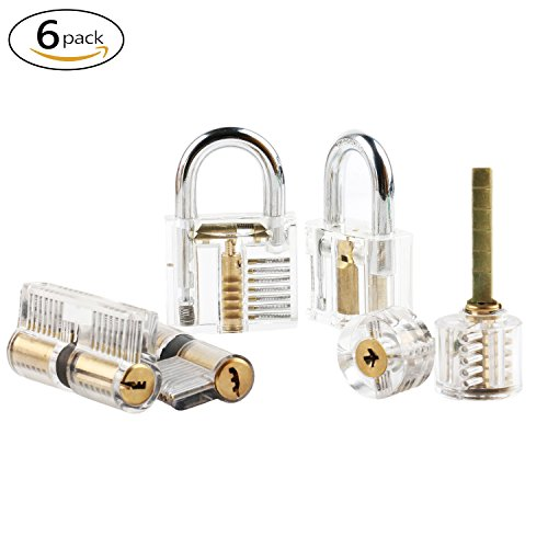 6pcs Practice Lock Set OKPOW Lock Set Crystal Visible Cutaway Common Lock Types for Locksmith Training Different Types of Padlock