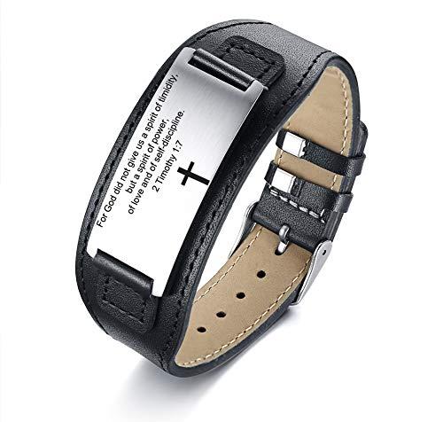 MPRAINBOW Scripture Faith Christian Bible Verse Engraved Inspirational Cross ID Bracelet Leather Bracelets for Men Adjustable ()