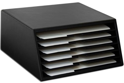 Dacasso Black Leather 6-Tray File Sorter