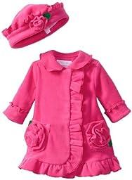 Bonnie Baby-girls Newborn Ruffle Fleece Coat And Hat Set (12 months)