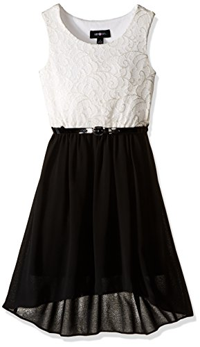 Amy Byer Girls' Big Sleeveless Lace to Solid Hi Lo, Color Ivory/Black 8