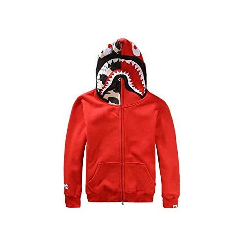 Men Shark Head Full Zip Hoodie Sweater Jacket (Red, XL)