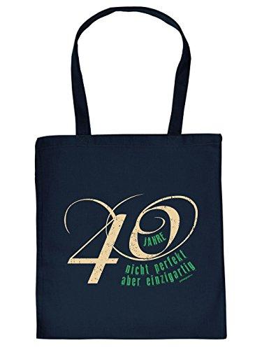 Geschenkidee zum 40. Geburtstag: Unisex Jutetasche/ Einkaufstasche/ Stoffbeutel/ 40 Jahre nicht perfekt aber einzigartig