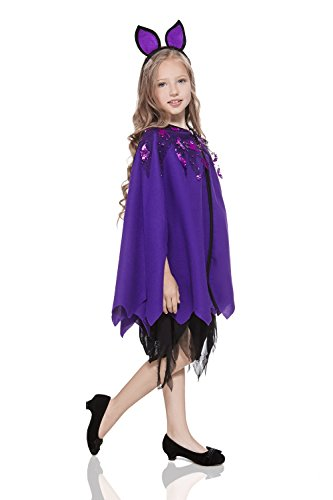 Kids Girls Little Bat Girl Vampiress Vamp Leather Wing Outfit Costume & Dress Up (3-6 years, Purple)