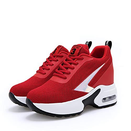 afc06814185e Talon Sneakers Chaussure Lacets Femmes Sport Gym Rouge Compensées Fitness  Baskets Aonegold De Plateforme 8cm q16PAP