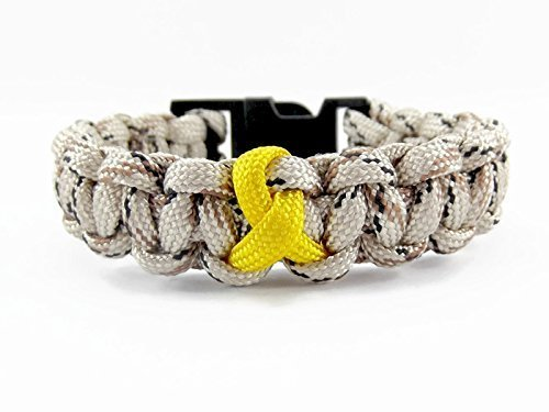 Camo and Yellow Ribbon Military Paracord Bracelet