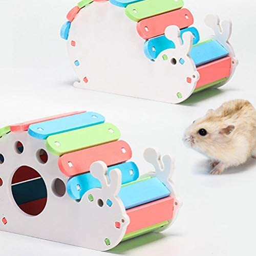 Balacoo Hamster Wooden Hideout House DIY Hideaway Hut Snail Design Exercise Toys for Guinea Pig,Dwarf Hamster,Mouse,Rat