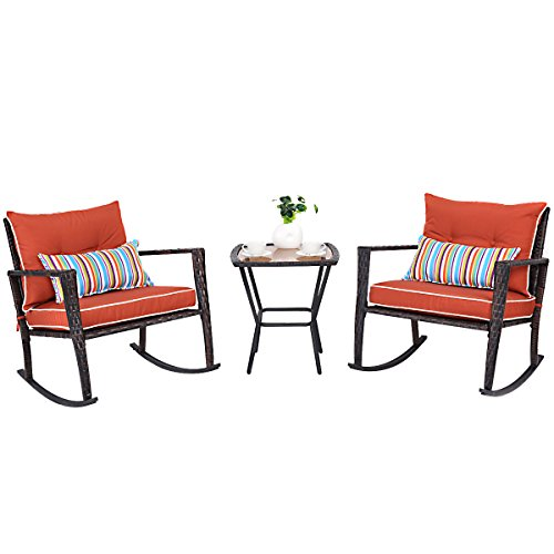 - Tangkula 3 PCS Patio Rattan Wicker Furniture Set Outdoor Garden Glass Top Coffee Table & Rocking Wicker Chair Set w/Red Cushions (red)