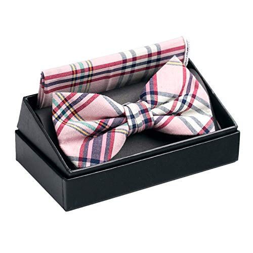 OUMUS Cotton Ajustable Tuxedo Handmade Bow Tie & Handkerchief Set, Gifts for Birthday, Chinese New Year and Holiday