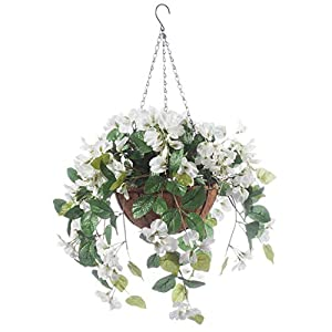 "OakRidge Fully Assembled Artificial Wisteria Hanging Basket, 10"" Diameter with 18"" Long Chain - Polyester/Plastic Flowers in Metal/Coco Fiber Liner Basket - Indoor/Outdoor Use 104"