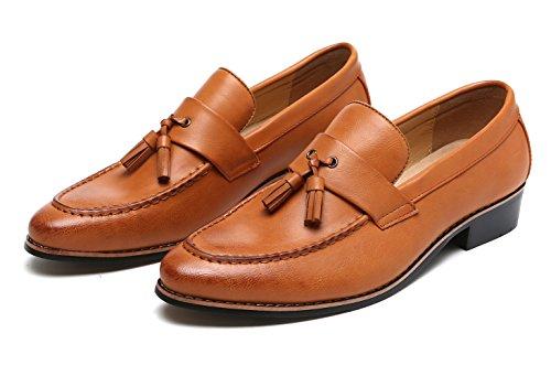 Dress Shoes Men Modern Tasseled Slip-on Loafers Slipper Pointed Toe Oxfords by Santimon Tan 9 D(M) US