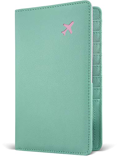 Passport Holder by POCKT - RFID Blocking Travel Wallet for Safe Trip, Document Organizer + Christmas Gift Box | Mint Blue