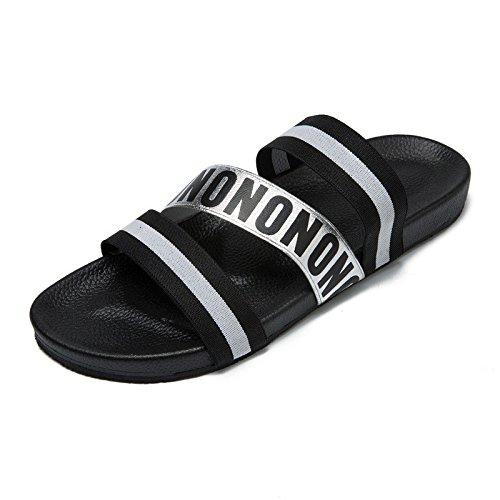 Verano El nuevo patrón encaja en cualquier lugar Fashionly Fashion Trend Sandalias del estudiante Elástico diario, negro, Reino Unido = 7, UE = 40 2/3