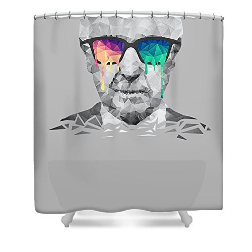 Pixels Shower Curtain (74'' x 71'') ''Albert Hofmann - Psychedelic Polygon Crystalised Portrait'' by Pixels