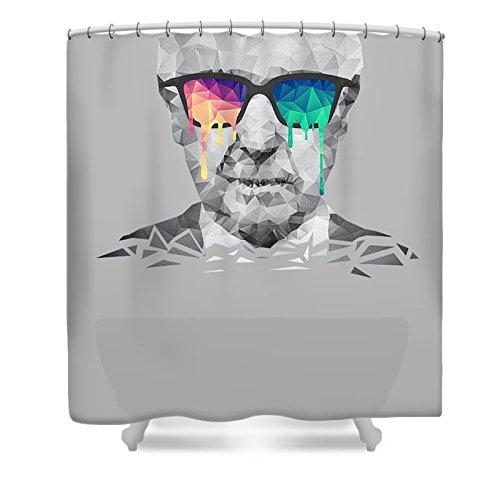 Pixels Shower Curtain (74'' x 71'') ''Albert Hofmann - Psychedelic Polygon Crystalised Portrait''