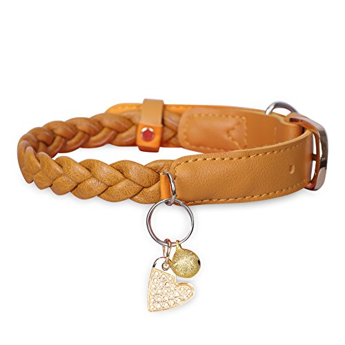 FYY Dog Collar Basic Classic Leather Dog Collars with Metal Clasp, Golden Bell and Tag, Neck 11.2″-14.7″, Adjustable Collars for Cats Puppy Small Medium Dogs