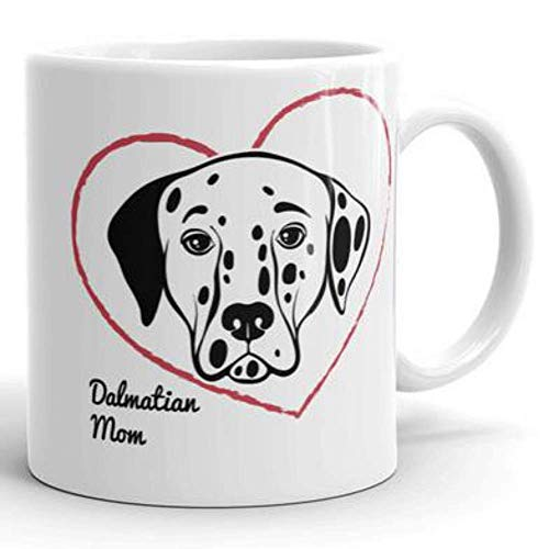 (Mother's Day Dalmatian Mom Dog Lover Gift Coffee Mug Heart Rescue Fur Baby Pet )