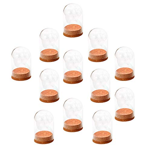 Fityle 15x Mini Clear Glass Hemisphere Dome Cover Shade Cabochon Wood Cork Home Office Table Decor