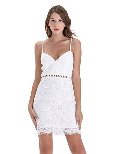 BARGOOS Women Summer Cocktail V Neck Sleeveless Hollow Out Slim Lace Sexy Bodycon Mini Party Bridal Dress White