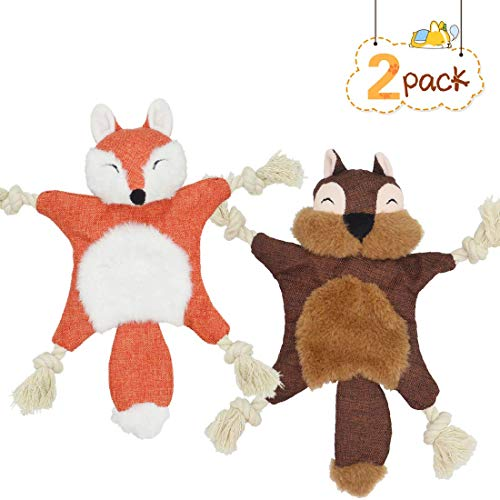 NAGUGU Crinkle Dog Toy No Stuffing, Dog Squeaky Toys Puppy Flat Stuffless Squirrel Fox Dog Plush Chew Toys with Tug Rope Knots for Small Medium Dogs, 2 Packs