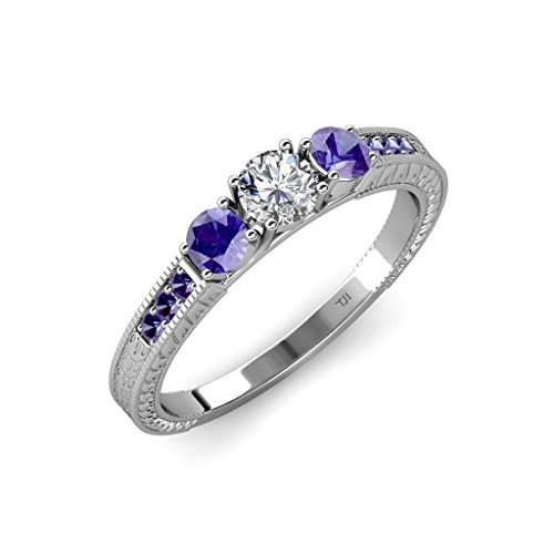 Diamond and Iolite 3 Stone Ring with Iolite on Side Bar 0.84 ct tw 14K White Gold.size 9.0