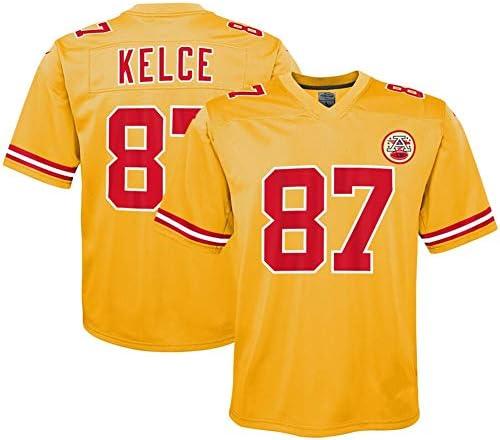 メンズラグビージャージフットボールジャージーカンザスシティチーフス#87トラビスケルスタイトエンドメッシュジャージーTシャツポロシャツユ