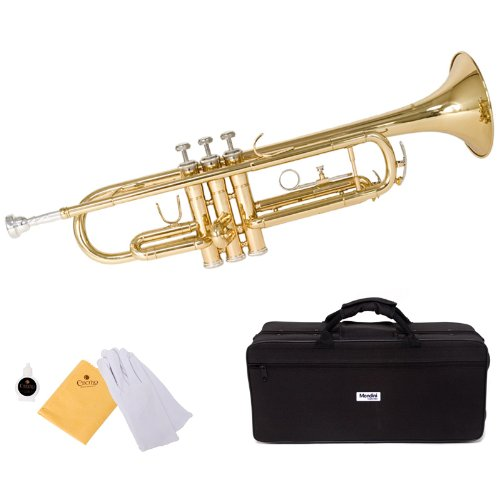 Mendini by Cecilio Gold Trumpet Brass Standard Bb Trumpet, Student Beginner with Hard Case, Gloves, 7C Mouthpiece, and Valve Oil by Mendini by Cecilio
