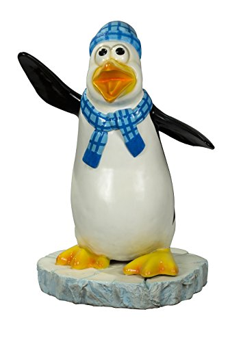 Queens of Christmas WL-PNG-FNY-BL Decorative Skipper The Funny Penguin with a Scarf, Blue -