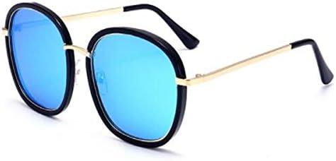 b6e590d564 LQQAZY Gafas De Sol Estilo 2018 Gafas De Sol Marea Femenina Cara Redonda  Cara Larga Marco Grande Estiramiento Facial Gafas Polarizadas,Blue