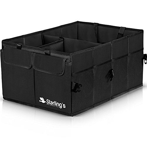 Car Trunk Organizer By Starling's-Black: Super Strong, Foldable Storage Box For Auto, Truck, SUV -Nonslip/Waterproof 3 layers Bottom W/Design - Black 011 My